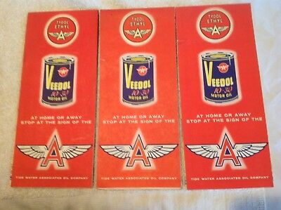 3 Different Veedol Vintage Advertising Road Maps, Tide Water Oil Co.