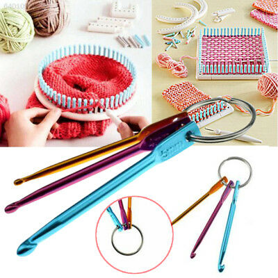 D0E8 3pcs Knit Needle Crochet Hook Keychain Keyring Gift Handle Knit Weave Craft