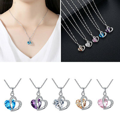6E9E Sterling Silver Plated Crystal Zircon Amethyst Heart Pendant Necklace Gift