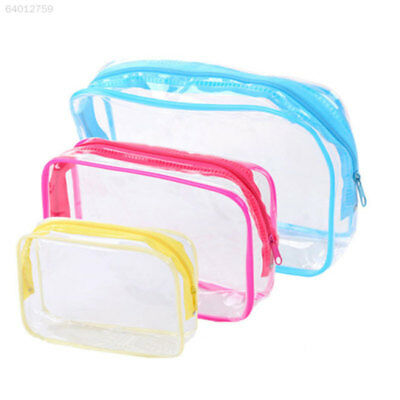 9C52 Waterproof PVC Zip Pouch Kit Transparent Clear Travel Cosmetic Wash Bag