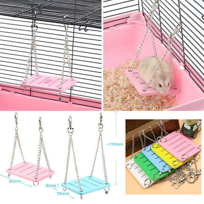 879A 063C Hamster Toys Swing Funny Hanging Gadget Wooden Bird Cage Accessories