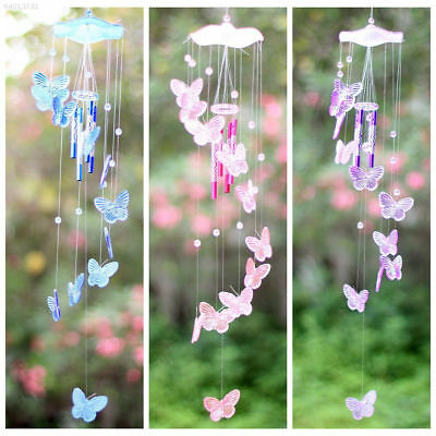 2c24 83ed Pink Erfly Wind Chime Bell Ornament Yard Garden Hanging Decor Art