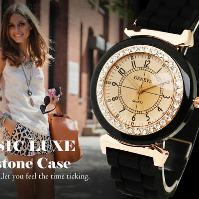 E914 44B3 Fashion Geneva Women's Lady Rhinestone Crystal Strap Band Quartz Watch