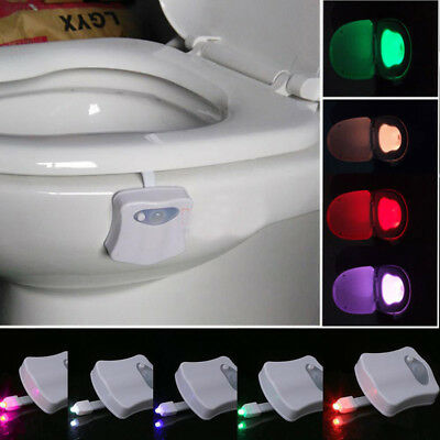 E91B 8 Colors Creative LED Toilet Home Night Light Human Motion Seat Sensor 3916