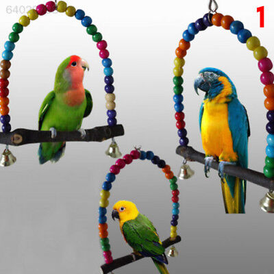 A1B6 Colorful Wood Swing Bird Toy Parrot Cage Toys Lovebird Budgie Conure Perche