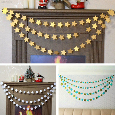 C03D 14E7 4M Christmas Tree Paper Stars String Hanging Garlands Party Room Decor