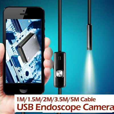 27F6 1M 7MM Android Endoscope Inspection Borescope LED Tube Snake Video Camera