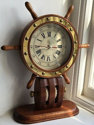 Vintage Clock like the steering wheel of a ship in working order H34cm x W28cm