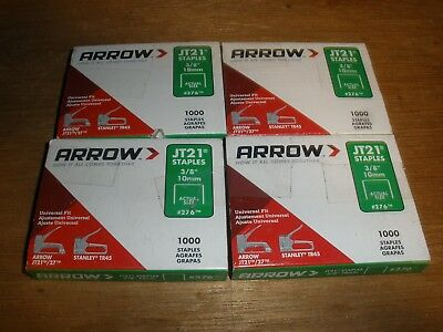 "Arrow JT21 3/8"" Staples #276 1000 Per Pack 10mm USA Made (Qty.4)"