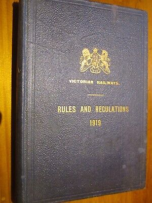 Very Rare 1919 Book of Rules & Regulations -  Victorian Railways System.
