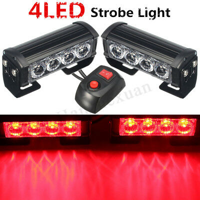 Car Truck 12V LED Lamp Bar Flashing Emergency Grille Light Recovery Strobe Red