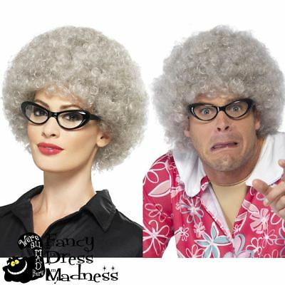 Granny Wig Short Grey Curly Perm Afro 70s Old Ladies Mens Fancy Dress Book Week