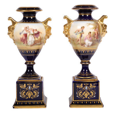19th Century ROYAL VIENNA CABINET VASES URNS SIGNED ~ Pair