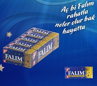 FALIM Sugar Free Turkish Chewing Gum 100 PCS Sugarless Plain Mastic (5x20)
