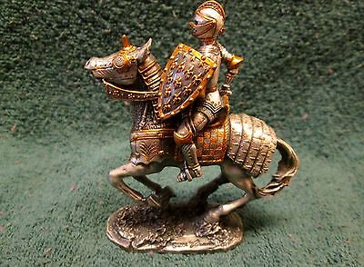 Medieval Knight on Horse - Silver & Gold Pewter
