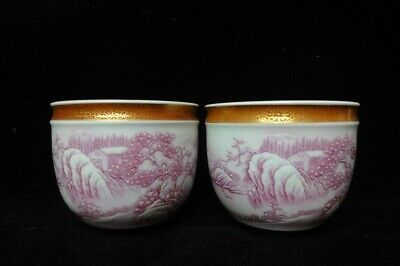 "Pair of Antique Chinese Hand Painting Landscape Porcelain Cups ""QianLong"""