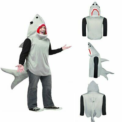 Sand Tiger Shark Attack Costume Animal Unisex Jaws Fish Fancy Dress Outfit Adult