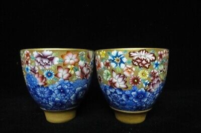 Pair of Rare Chinese Antique Hand Painting Flowers Porcelain Cups Marks