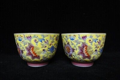 Pair of Antique Chinese Yellow Glaze Hand Painting Porcelain Cups Marks