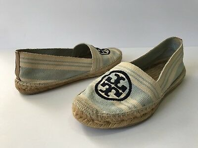ac73be73bec6 Tory Burch Blue Striped Espadrille Canvas Flats Size 7