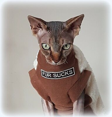 adult FUR SUCKS sherpa, Sphynx cat clothes, sweater for a cat, HOTSPHYNX>