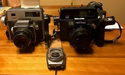 2 Rapid Omega Cameras, a 100 and a Koni Omega 1:3.5 90 mm Lens on both