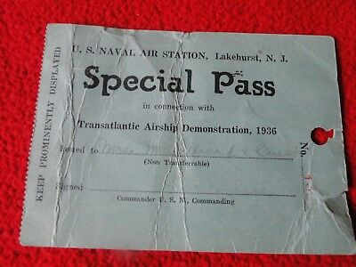 Vintage Rare Special Pass U.S. Naval Air Station Lakehurst, NJ Zeppelin Related