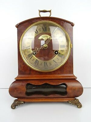 Warmink Vintage Antique Dutch Mantel Mantle Clock (Hermle Junghans era) Nutwood
