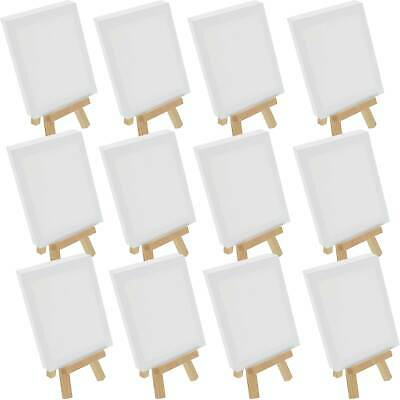 "8"" Mini NATURAL Easel & 4""x6"" Mini Canvas Complete Craft Painting Set Pack of 12"