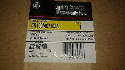 GENERAL ELECTRIC CR160MC7102A LIGHTING CONTACTOR MECHANICALLY HELD Sealed in Fac