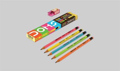 doms pack of 5 NEON HB/2 Pencil Eraser Rubber Tipped HB/2 Pencils with Sharpener