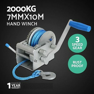 Giant 2000KG / 4410LBS 3Speed Hand Winch Dyneema Synthetic Rope Boat Car Trailer