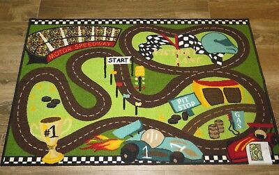 Kids Play Area Rug Car Road Motor Speedway Fun Track Big Colorful 4ft x 5ft $119