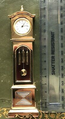 Gold plated over brass miniature grandfather clock