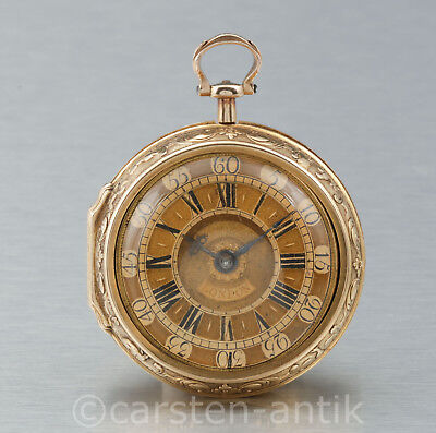 Andrew Dunlop London 1729 , 22k GOLD REPOUSSE PAIR CASED VERGE WATCH