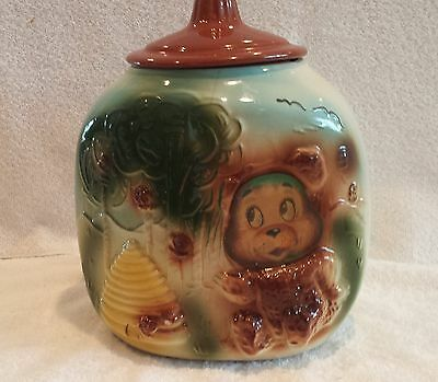 Vintage American Bisque Flasher Bear Corner Three Sided Cookie Jar 1940's