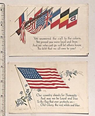 2 WWI Loyalty Series Postcards - U.S. Flag & Allied Flag Group UNMARKED/UNPOSTED