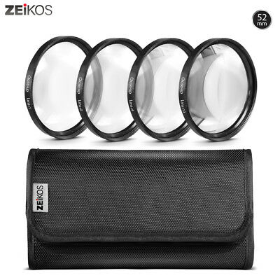 Zeikos 52mm Macro Close-Up Filter Set +1, +2, +4, +10 Diopters+Free MiracleFiber