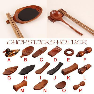 Wooden Chopstick Stand Spoon Fork Holder Rest Tableware For Dinner Decoration