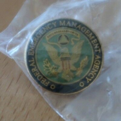 "FEMA FEDERAL EMERGENCY MANAGEMENT Mini LOGO 1"" Lapel Pin Tie Tack NEW in plastic"