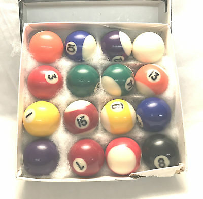 Vintage Miniature Bakelite Billiard Pool Balls In Original Box Excellent