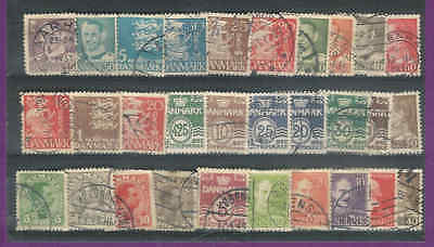 A Nice Selection of Denmark Vintage stamps Good Cat Value(30)  F10