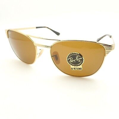 20208149ba Ray Ban Signet 3429 M 001 33 58 Gold Brown B15 Sunglasses New Authentic r