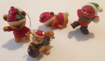 Lot of 4 Vintage Christmas tree decorations & ornaments Bears Bird Squirrel