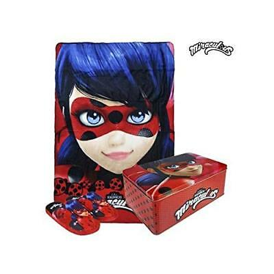 Set MIRACULOUS LADYBUG plaid pile 100x150 + pantofole N. 34/35 in scatola regalo