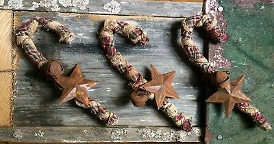 Set Of 3  ~ Primitive Candy Cane Christmas Ornaments Rusty Bell Star Wire Canes