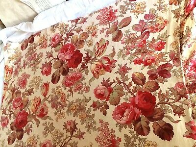 Antique Vintage French Fabric 1900's Floral Pink Roses Tulips