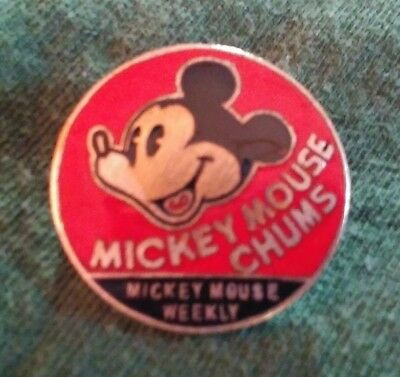 vintage antique 1930s Disney Mickey mouse chums badge button