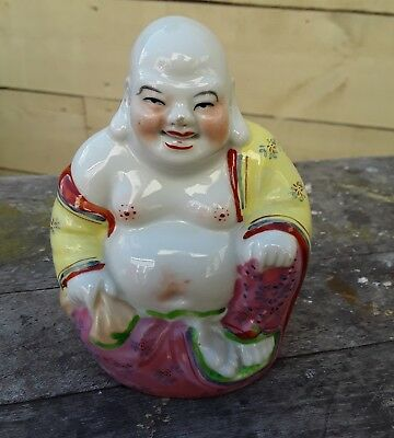 Antique Chinese Porcelain Famille  Rose Laughing  Buddha Mark 53