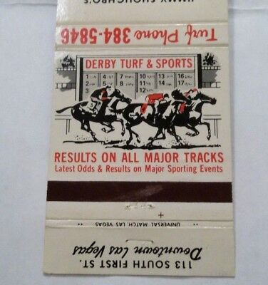 DERBY TURF AND SPORTS LAS VEGAS NV BETS HORSE RACING Matchbook Cover